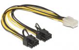 Stromkabel für PCI-Express Grafikkarte - von 1 x 8-pol PCI-Express Stromkabel Buchse - auf 1 x PCI-Express Stromkabel 6-pol Stecker - 30 cm