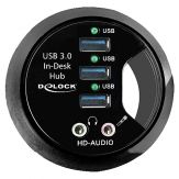 Delock In-Desk Hub 3 Port USB 3.0 + HD-Audio Ports Hub - 3 x SuperSpeed USB 3.0 - Desktop