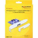 DeLOCK PCI Express Card > 1 x external eSATA 6 Gb/s + 1 x internal SATA 6 Gb/s - Speicher-Controller - SATA 6Gb/s / eSATA 6Gb/s Low Profile - 600 MBps