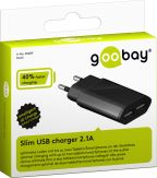 goobay - Slim Ladegerät 2x USB - 230 V - schwarz - Eurostecker - 2,1 A
