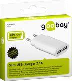 goobay - Slim Ladegerät 2x USB - 230 V - weiß - Eurostecker - 2,1 A