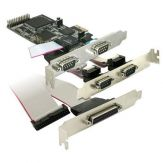 DeLock PCI Express card 4 x serial, 1x parallel - Adapter Parallel/Seriell - PCIe - RS-232 - 4 Anschlüsse + 1 paralleler Port