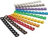 """Kabelmarker-Clips """"Ziffern 0-9"""", Ziffern jeweils in einer unterschiedlichen Farbe für Kabeldurchmesser 2,5-4 mm (PatchKabel) - 10x 10 Stück"""