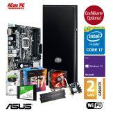 ACom SILENT Grafik/Video Workstation G7 i7-7700K - Win10 Pro - Intel Core i7-7700K - 32 GB RAM - 240GB SSD + 2TB 24/7 HDD - DVD - Grafikkarte optional