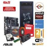 ACom AMD Gaming Ryzen-RX560 - Win 10 - AMD Ryzen 5 2400G - 8 GB RAM - 1 TB HDD - Radeon RX 560 4 GB - WLAN - Internet Security