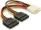 DeLOCK Power Molex 4pin St > 2xSATA 15pin Bu