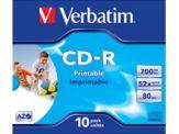 Verbatim - 10 x CD-R - 700 MB ( 80 Min ) 52x - mit Tintenstrahldrucker bedruckbare Oberfläche, breite bedruckbare Oberfläche - Jewel Case (Schachtel)